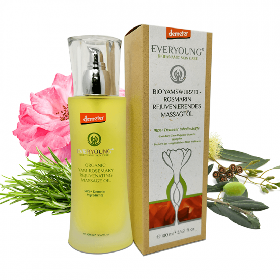 Organic Yam-Rosemary Rejuvenating Massage Oil (90%+ Demeter) - 100 ml